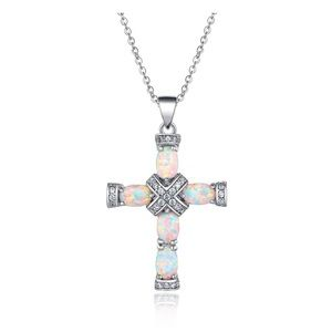Jewelry - Rose & White Gold Plated Opal Cross Chain Pendant